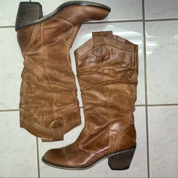 Aldo Shoes - Genuine tan leather trendy cowboy inspired boots